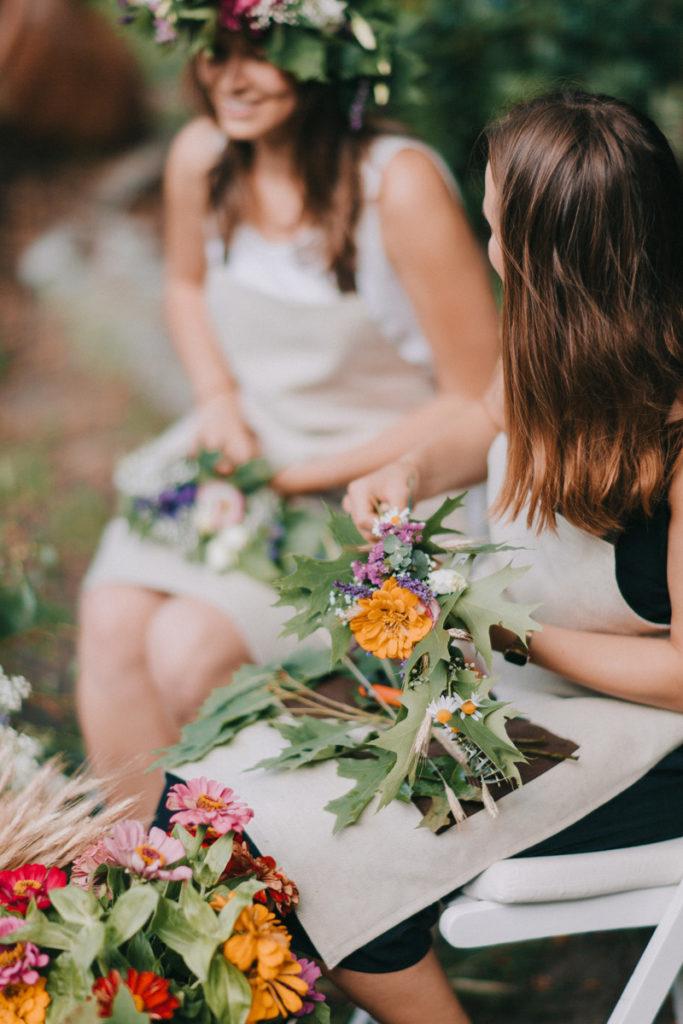 wianki plecione na żywo jako usługa weselna