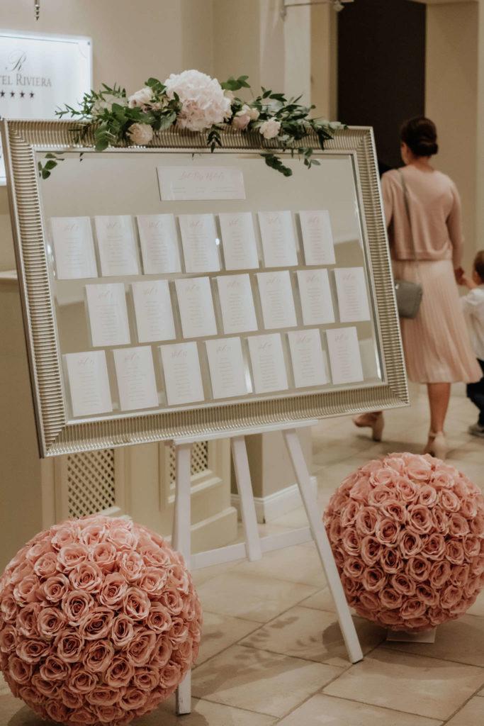 dekor kwiatowy z bladoróżową hortensją i różami na lustro
