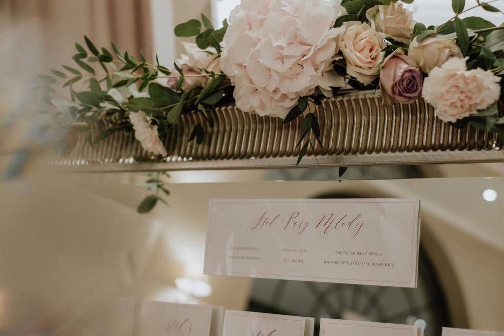 pudroworóżowa hortensja jako dekoracja lustra z planem stołów