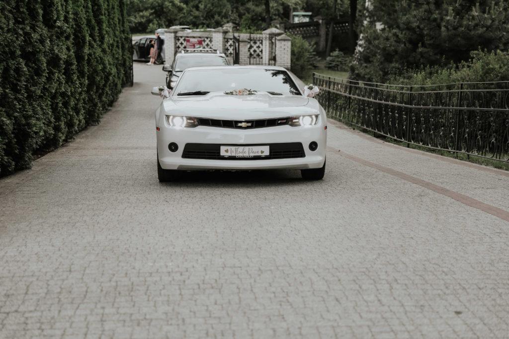 ozdoba maski i lusterek kwiatami białego samochodu
