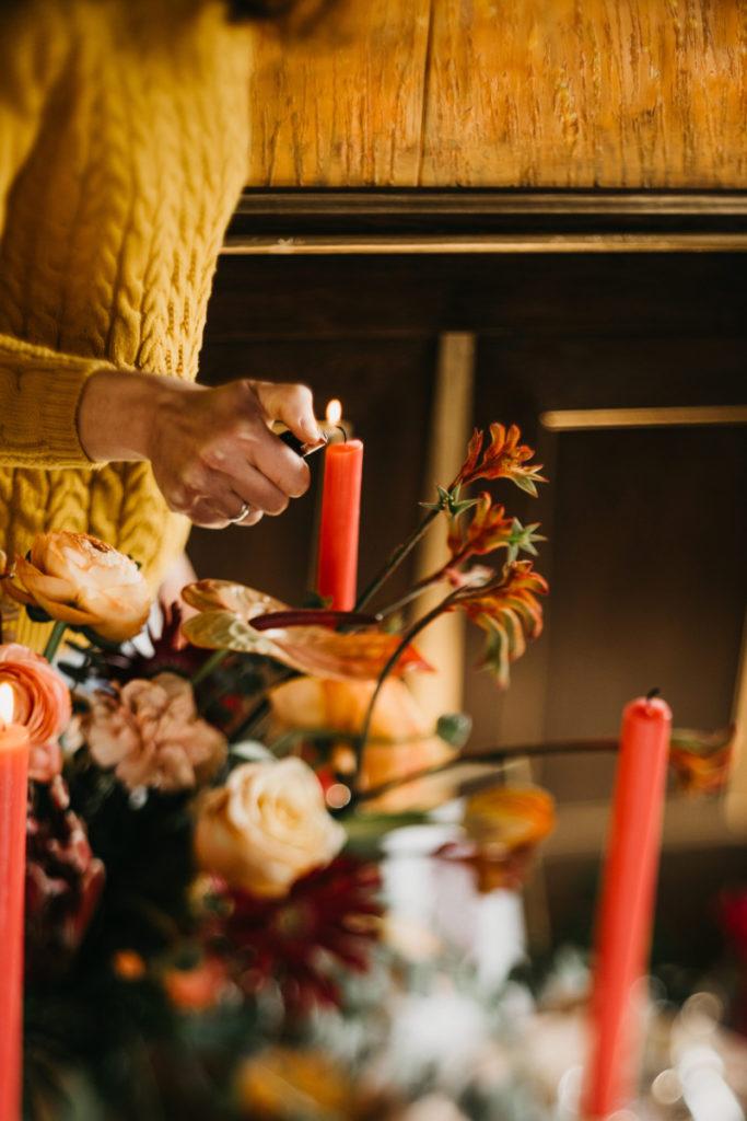 dekoracja stołu weselnego na sesję zdjęciową w jesiennych kolorach