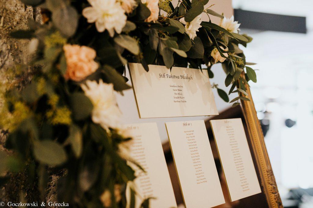 dekoracja planu stołów w złotej rami udekorowanej kwiatami i zielenią